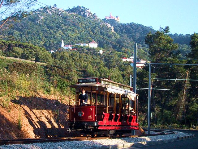 Sintra Tram with the Castle of the Moors, the Pena Palace and the National Palace in the background