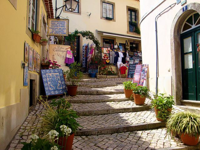 Shops in the streets of the historic centre of Sintra