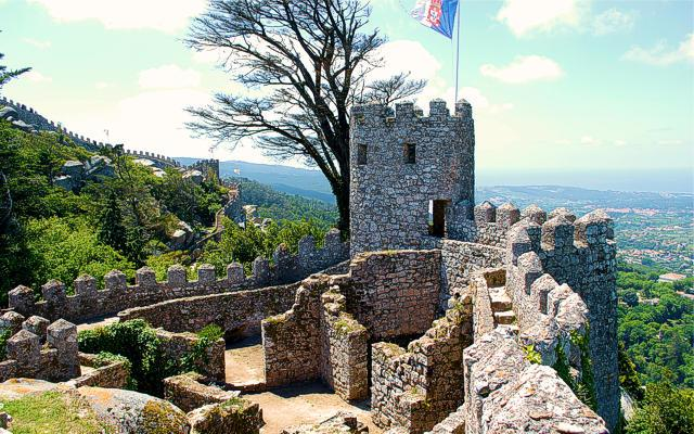 One of the fortified towers of the Castle of the Moors