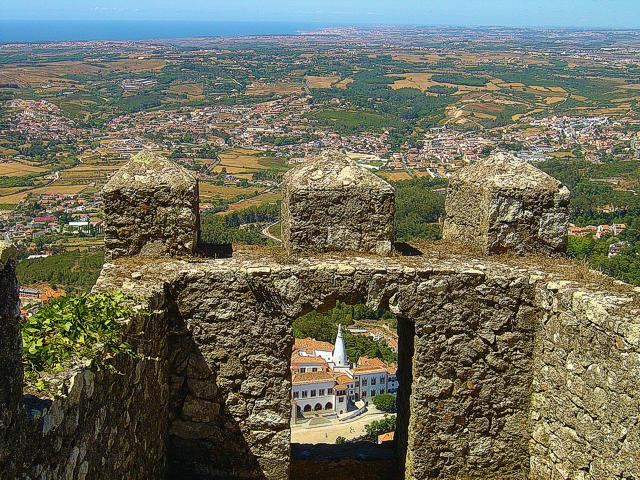 View from the Castle of the Moors featuring Sintra's Palace