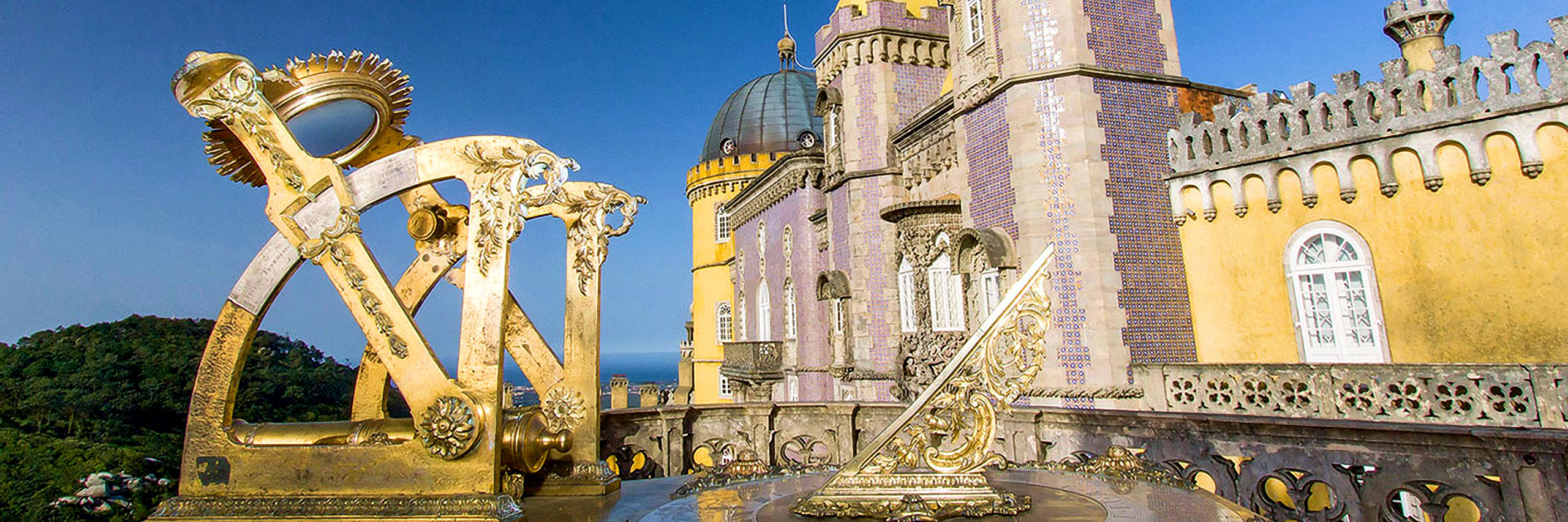 Pena Palace Queen's terrace featuring a sundial and cannon