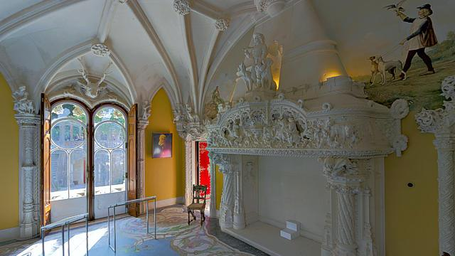 Mantelpiece of the fireplace of the Hunting Room of the Quinta da Regaleira