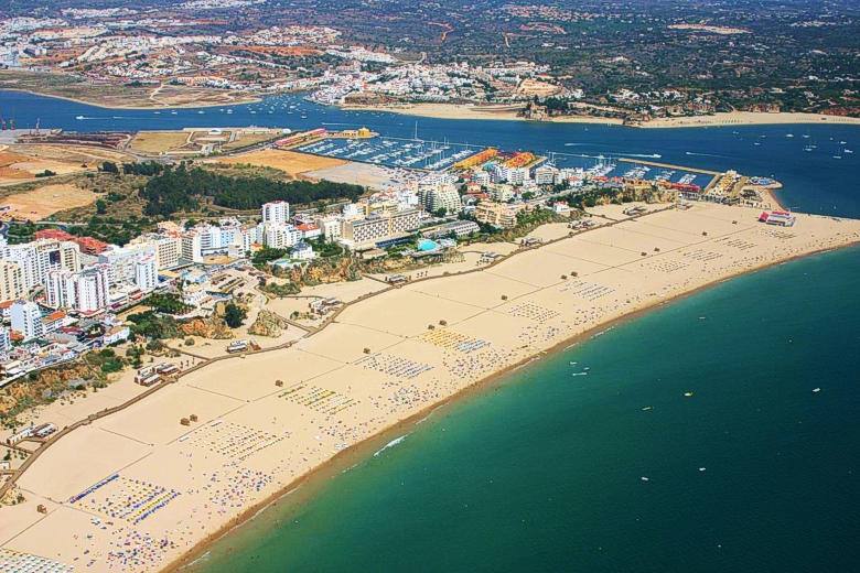 Aerial view of the Praia da Rocha Beach