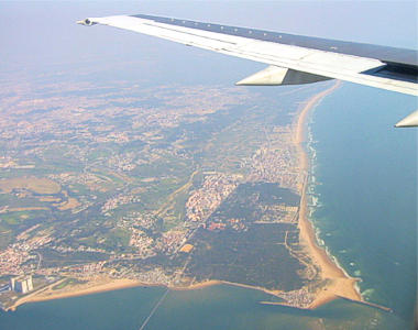 Airview of the Caparica beaches