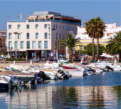 Hotel Faro viewed from the marina